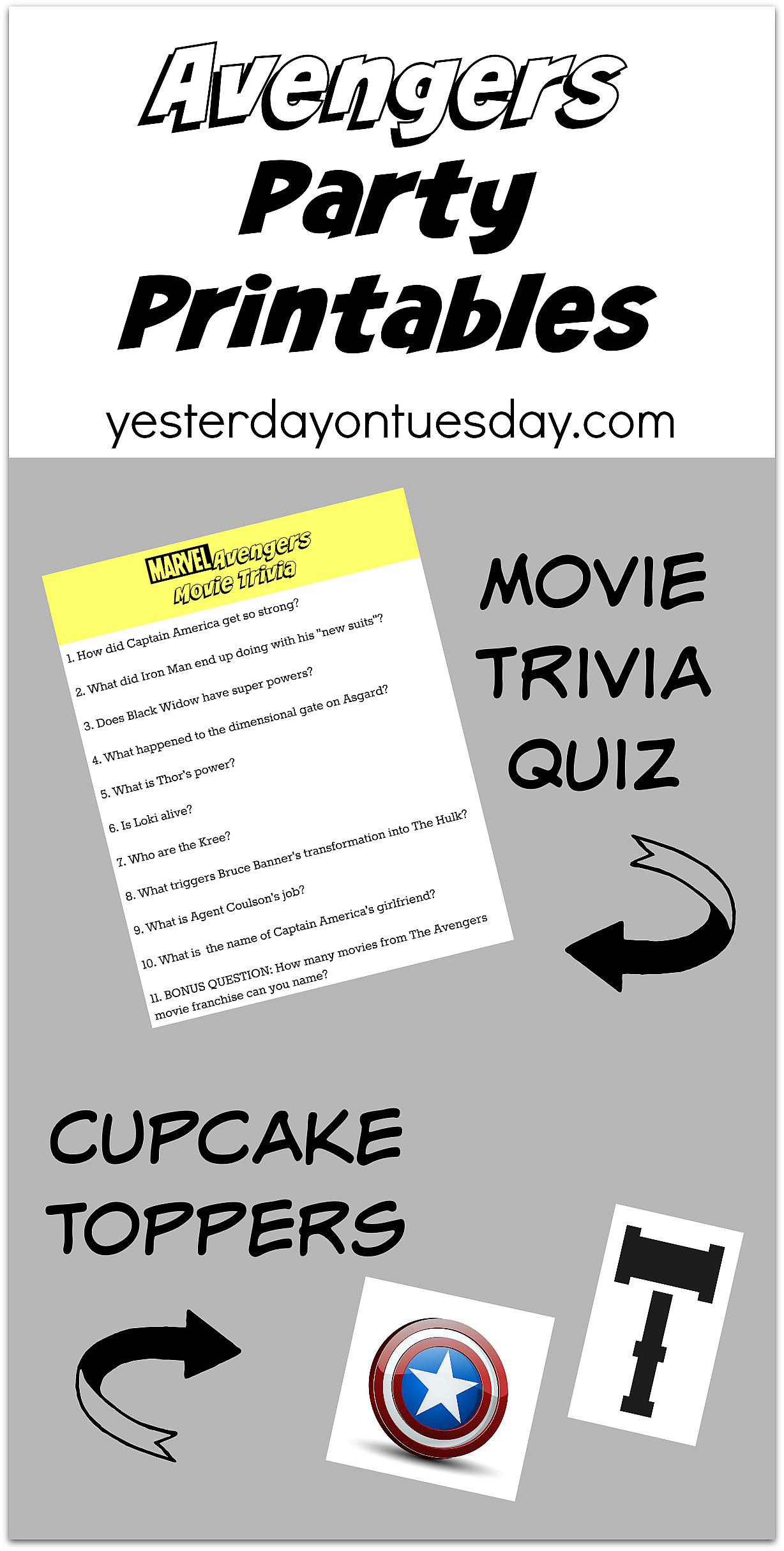 Fun Avengers Party Printables including a movie trivia quiz and