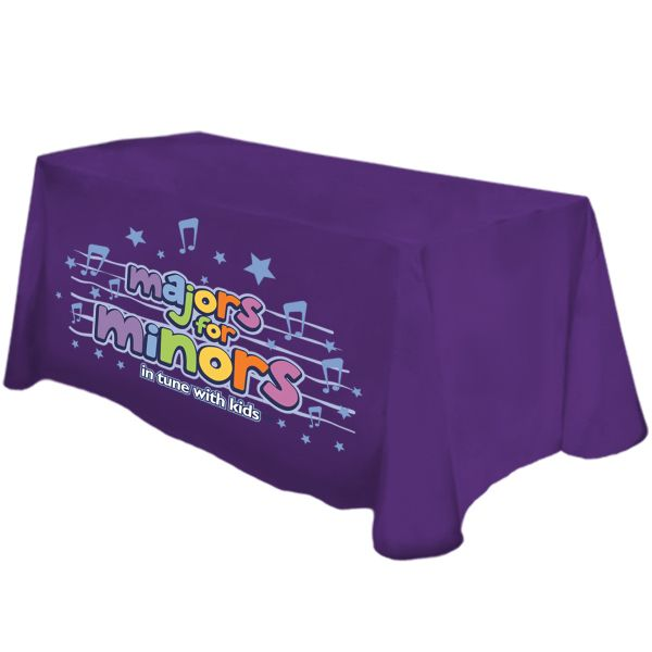 Custom imprinted table covers are perfect for promoting your brand at any event! This standard size is for a 6 ft table.  Print thousands of colors, photographic images and spot colors elements on the entire front panel. Choose from 74+ stock cloth colors for the top, back and side panels. Finished with rounded corners, to prevent bunching on the floor, and merrowed edges. Drops to the floor on all sides. Cloths are washable, dryable and winkle resistant