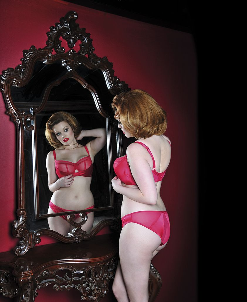 Scarlet red gives Scantilly's Peekaboo set a glamourous update - perfect boudoir lingerie for DD-HH cups