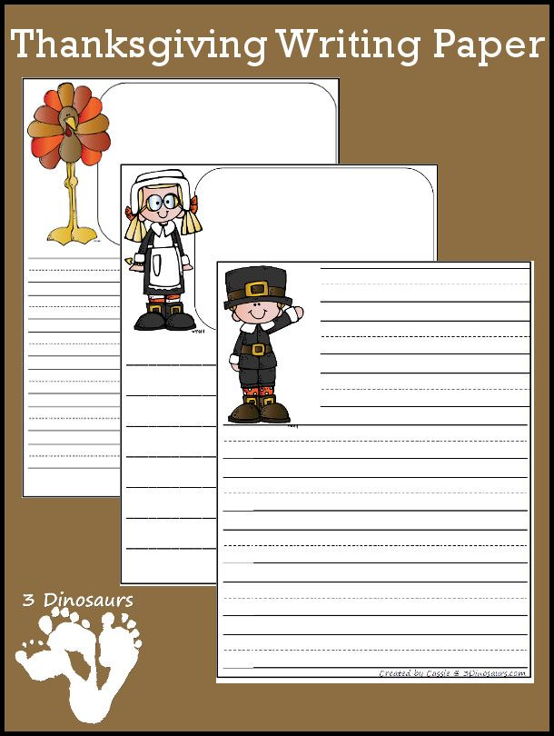 FREE Thanksgiving Themed Writing Paper Pack Thanks*Merci*Gracias