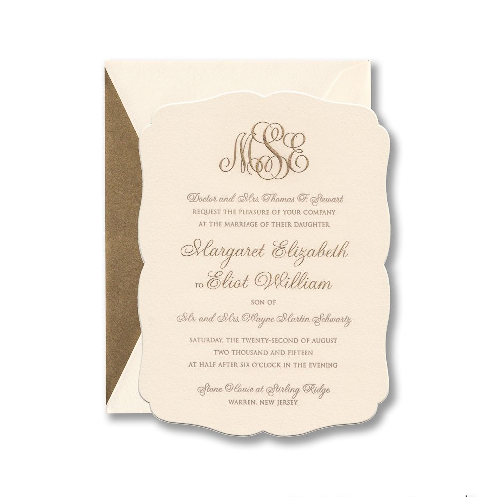 Rococo Shape Invitation Engraved And Letterpress Printed In Gold