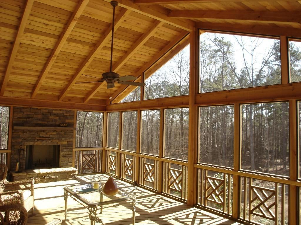 Interior Of Gable Roof Screened Porch Porch Interior Screened Porch Designs Porch Fireplace