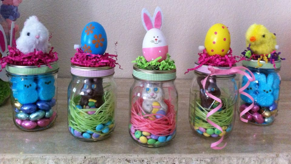 Jars filled with easter candy decorated with plastic eggs etc on jars filled with easter candy decorated with plastic eggs etc on the outside i negle Choice Image