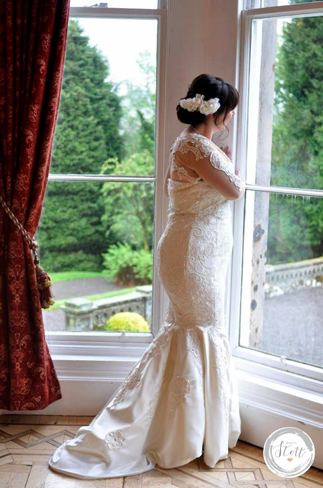 Custom made fishtail lace wedding dress <3