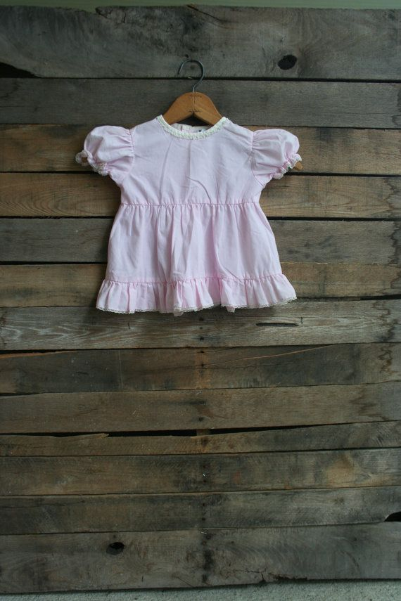 Vintage Children's Pink & White Lace Dress by Nana's by vintapod