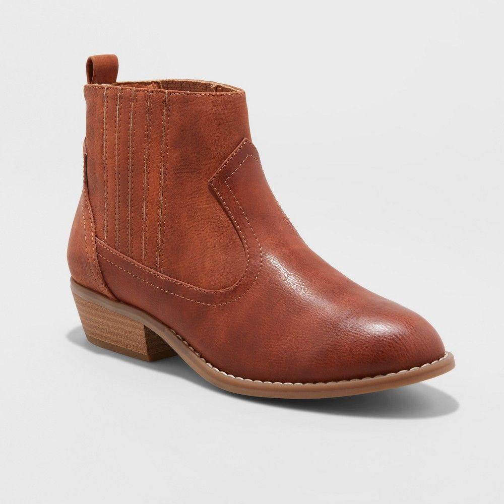 4ef3aa6d42b8 Women s Western Wide Width Ankle Boots - Universal Thread Cognac (Red) 5.5W