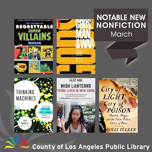 Whats new in nonfiction? Visit our website for our list of 12 nonfiction books in a wide-range of topics including Tom DeLonge of blink182 talking about UFOs comic super villains Chinese youth culture and computer artificial intelligence and where it is taking us! #lacountylibrary #lacounty #library #reading #books