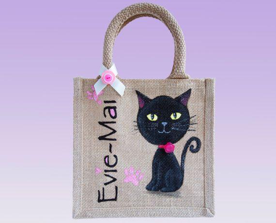 Small Personalised and HandPainted Jute Bag