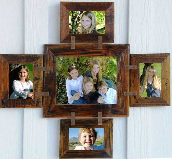 Reclaimed Barn Wood Family Collage Rustic Picture Frame 1 8 X 10 4 4 X 6 Barn Wood Frames Rustic Picture Frames Picture Frame Crafts