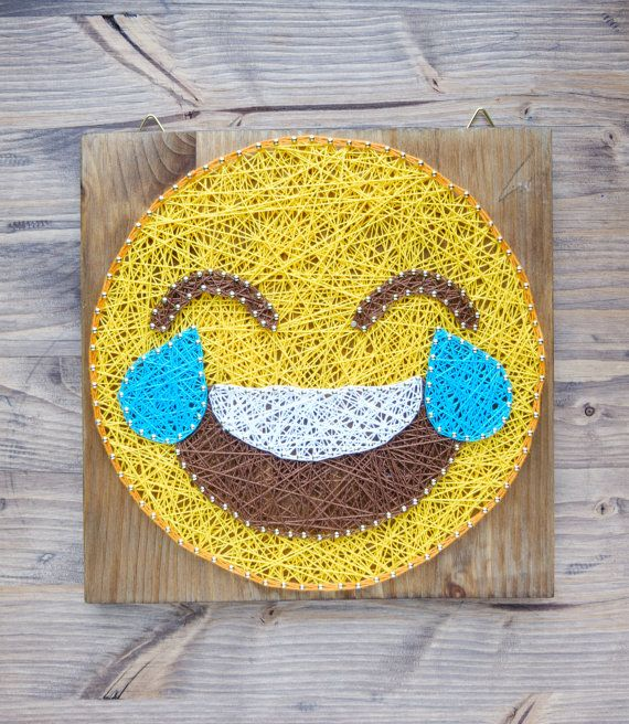 Modern Emoji String Art Wall Decor, tears of joy yellow emoji ...