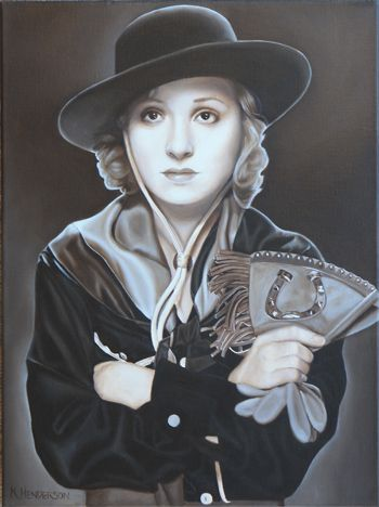 Cowgirl Dreams, oil on linen, 24 x 18    This painting is another in my series of Silver Screen Cowgirls. This little lady wears a hat, gauntlets, scarf and western shirt. The sepia tones brings us back to the times before Cowgirls were in Technicolor.    http://khendersonart2.blogspot.com