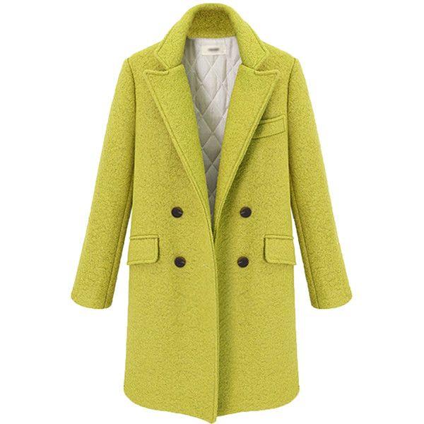 Yellow Chic Ladies Plain Turndown Collar Pea Tweed Coat 87 Liked On Polyvore Featuring Outerwear Coats Jacke Woolen Coat Wool Coat Women Green Wool Coat