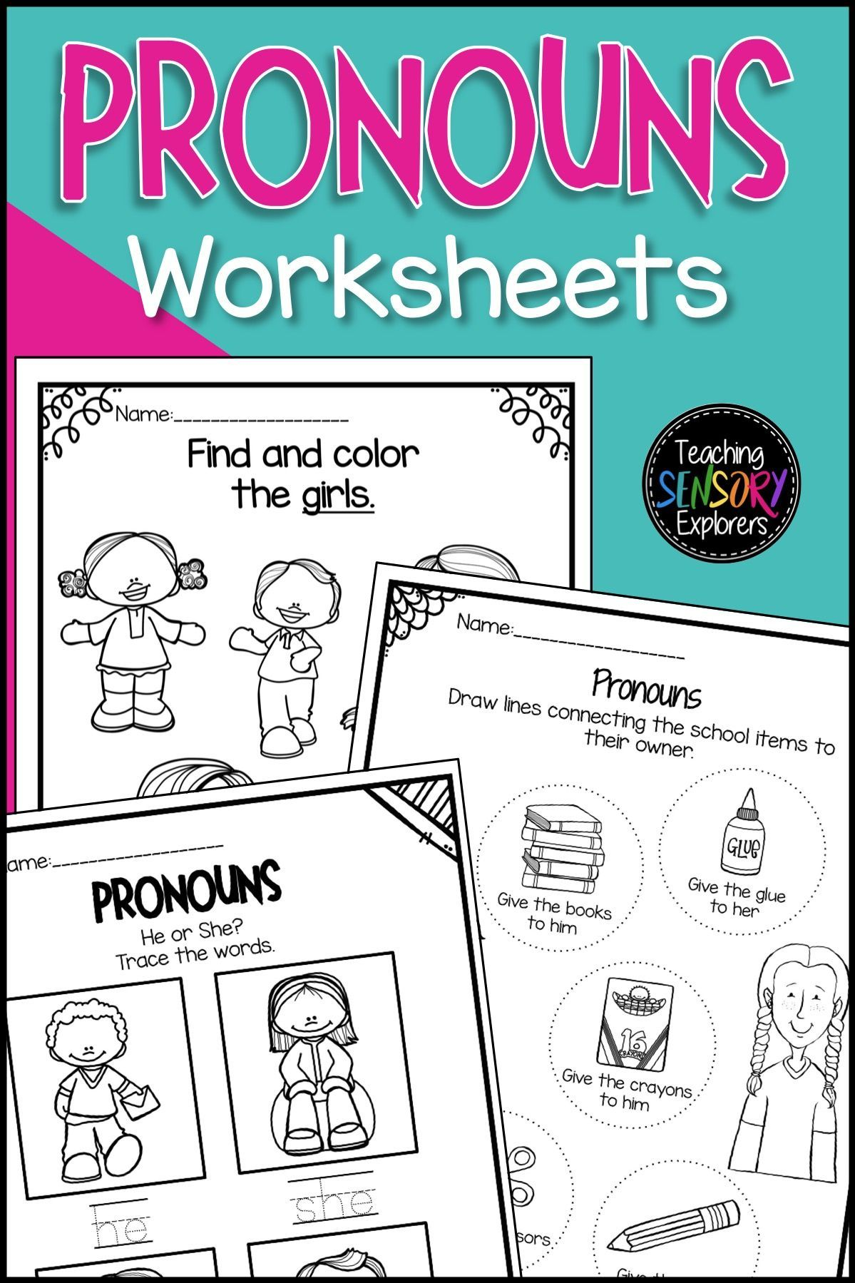 Pronouns He She Worksheets