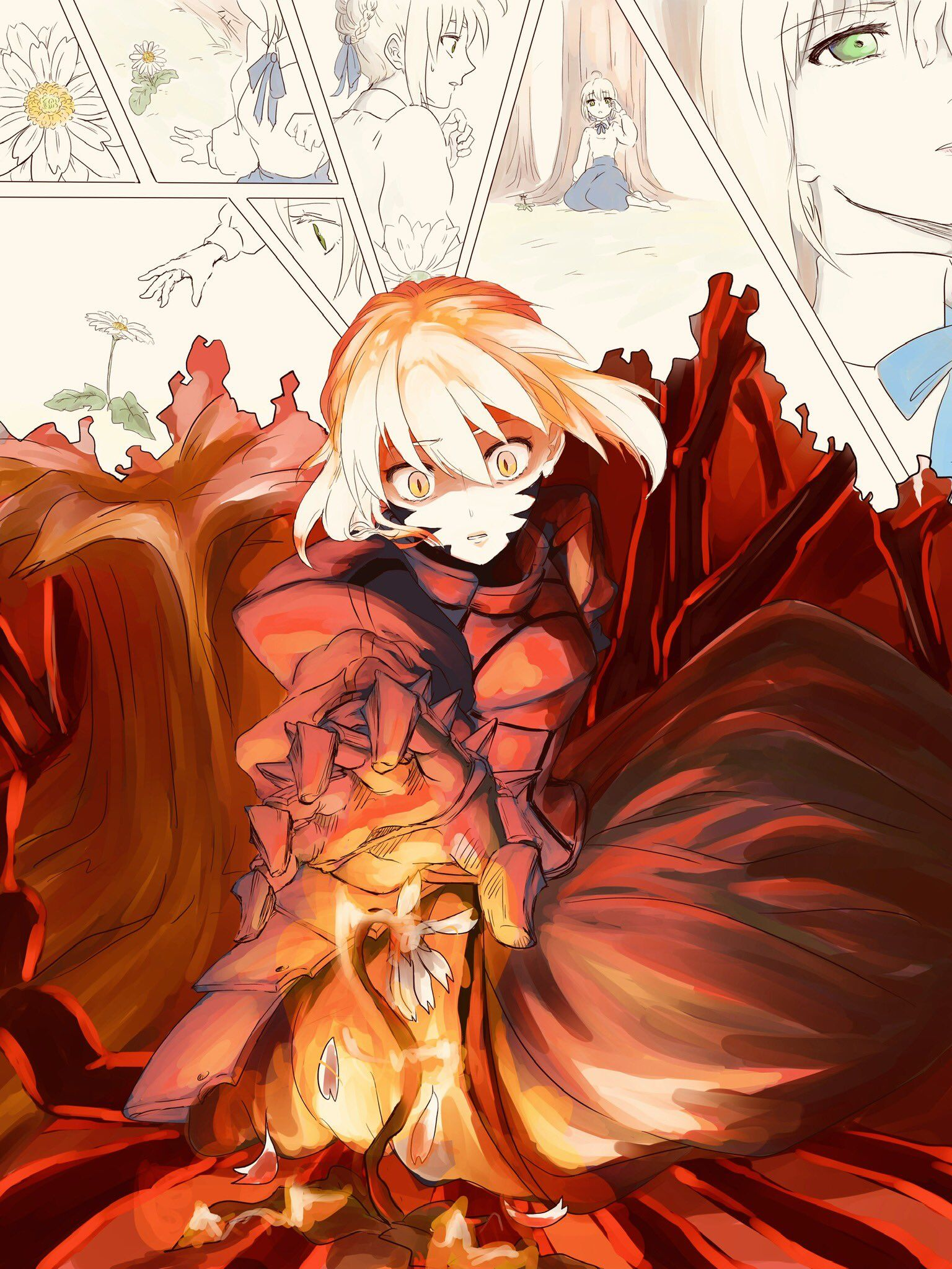 Burning flower saber fate stay night series fate