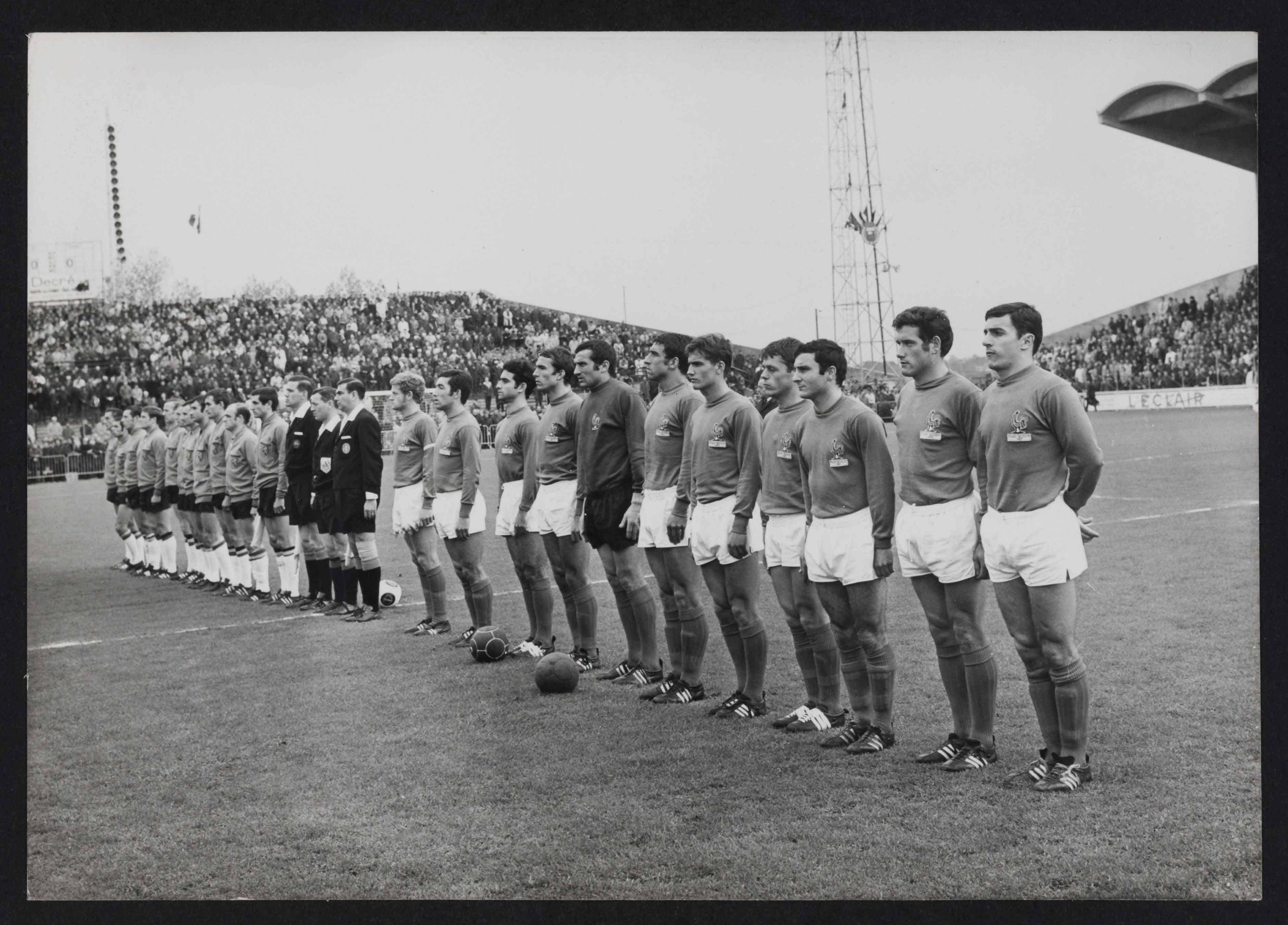 Portrait de l'équipe de France de Football sur un terrain