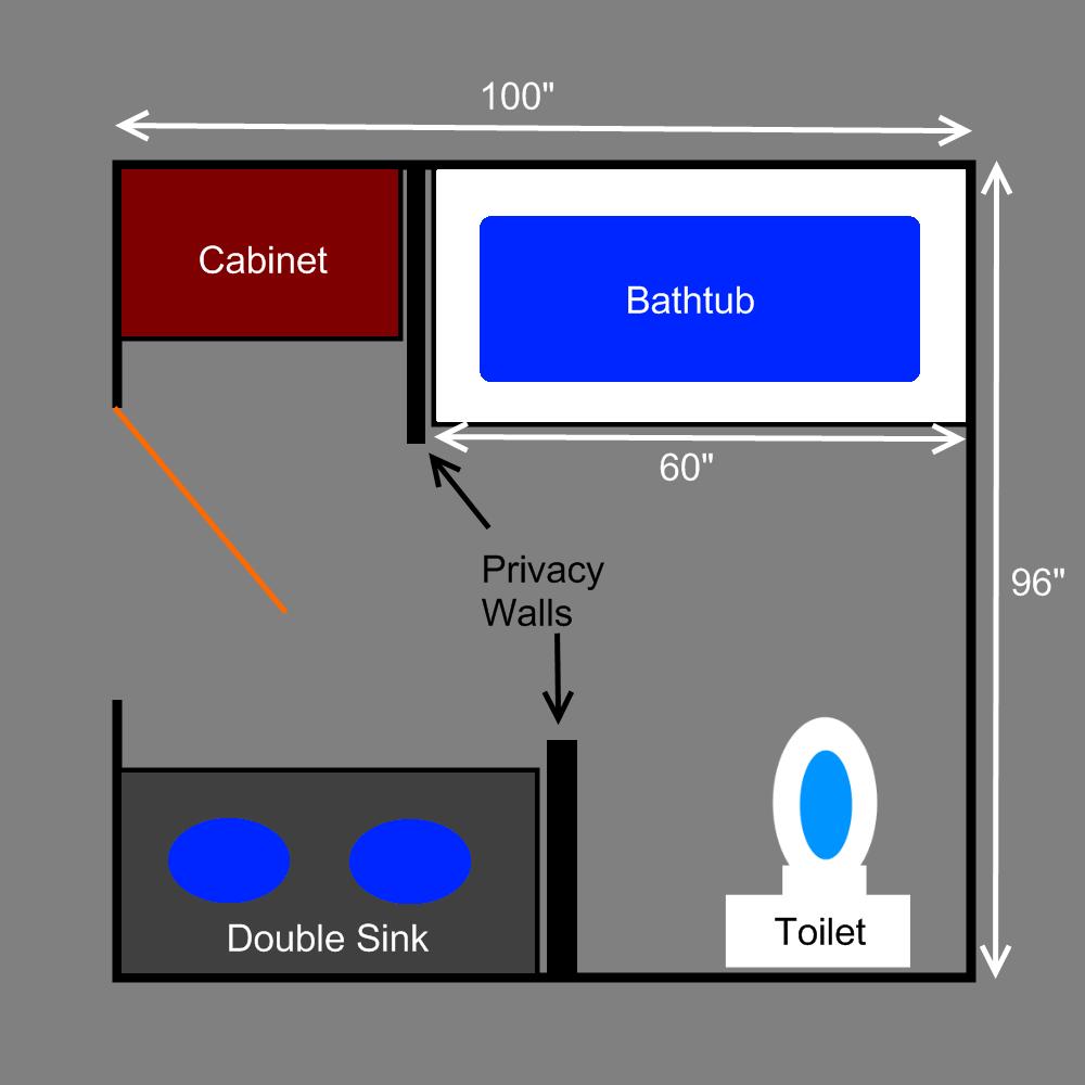 Small Bathroom Floor Plans | Bathroom Plans - 3/4 Bathroom Plan and Storage Space