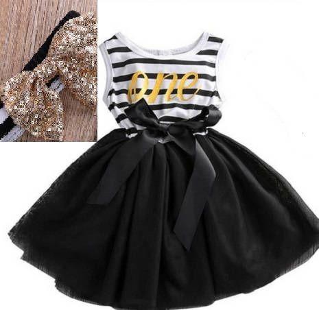 2PC Geburtstag Tüll Kleid mit passendem Stirnband schwarz ...