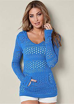 ed84d7b2aa Venus Women s Long Sleeve Hooded Sweater Sweaters - Blue