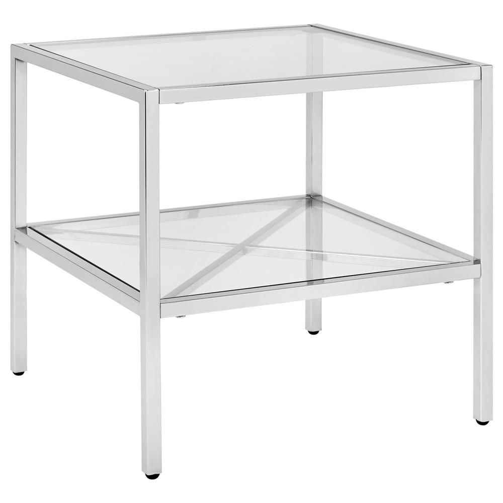 Glass and Metal Side Table with Shelf/Coffee Tables & Side Tables ...
