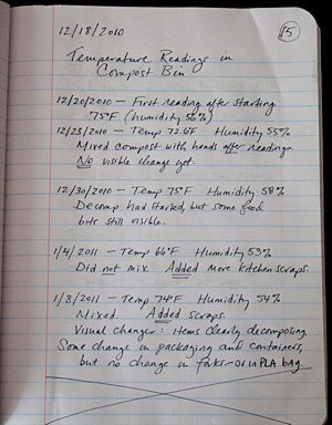Laboratory notebook entries from sample student science project ...