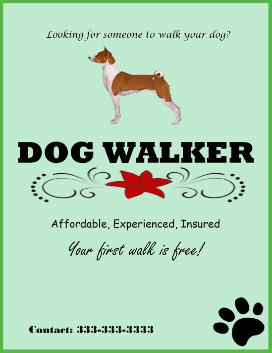 Experienced dog walker template Dog walking flyer certificate