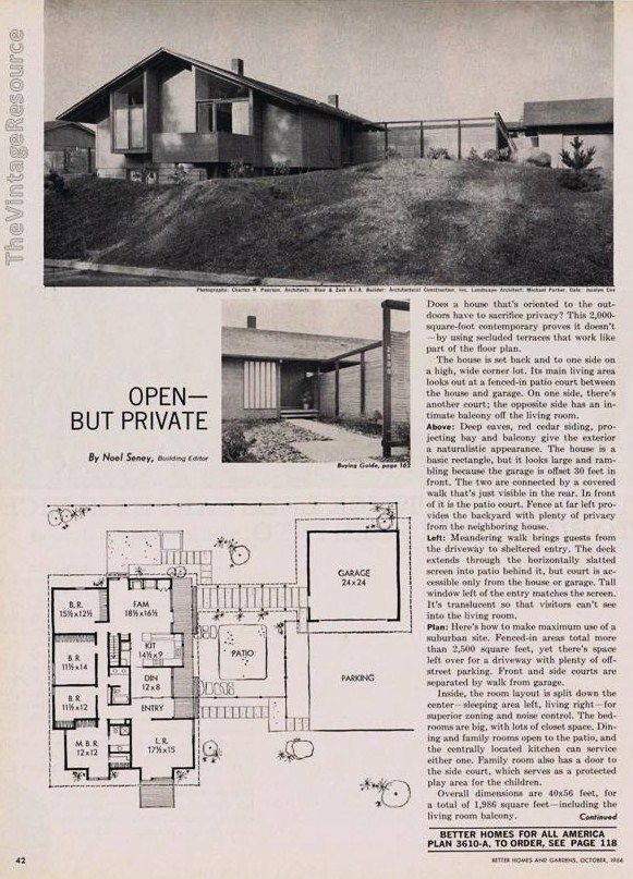 better homes & gardens house plan 3610-a |1966 | interior design
