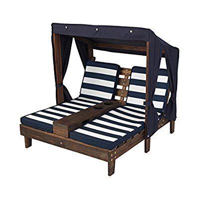 Kidkraft Outdoor Double Chaise Lounge Honey Navy White