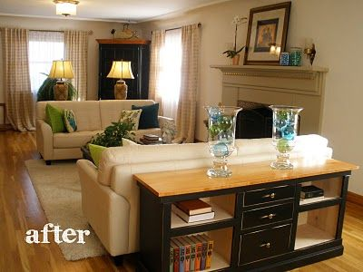 Love The Dresser Behind The Couch Sofa Tables Living Room Living Room Remodel Home Remodeling