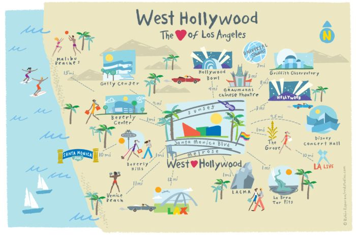 Map Of California Hollywood.West Hollywood Illustrated Map Credit Image Ruben Esparza