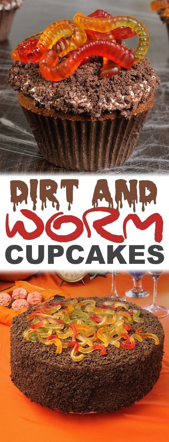 Easy Halloween Cupcake Ideas -- Perfect for a party! Gummy worms and chocolate cake. Dirt and worms cup cakes or cake is perfect for your Halloween party!  A chocolaty dessert that everyone will say is delicious instead of disgusting! #creepy #halloweentreats #dirtandworms #chocolatecake #mudcake #halloween  #cupcakes #party #letsparty #halloweencupcakes
