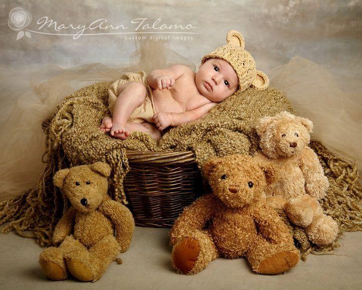 Newborn 0 1 Months Teddy Bear Crochet Flapper Beanie Beige