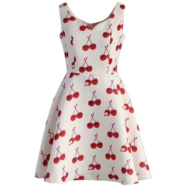 Chicwish Cherry My Love Skater Dress (540 NOK) ❤ liked on Polyvore featuring dresses, vestidos, sleeveless dress, платья, red, white skater dress, red sleeveless dress, red dress, skater dress and white dress