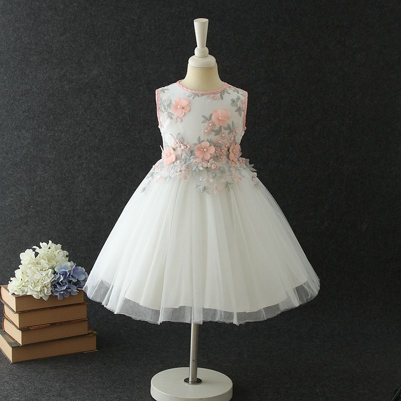 3abc0f172708 Brand Kids Girl Summer Sleeveless Embroidery 3D Flower Princess Dress For  Children Prom Gown Wedding lace party dresses