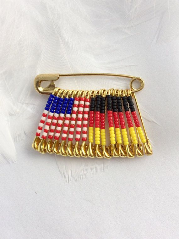US Germany Pin Gift For Her Handmade Birthday USA German Flag Lapel Brooch Beaded