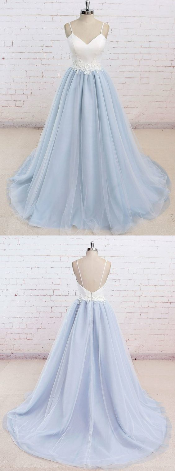 Baby blue prom party dresses with train fashion backless evening