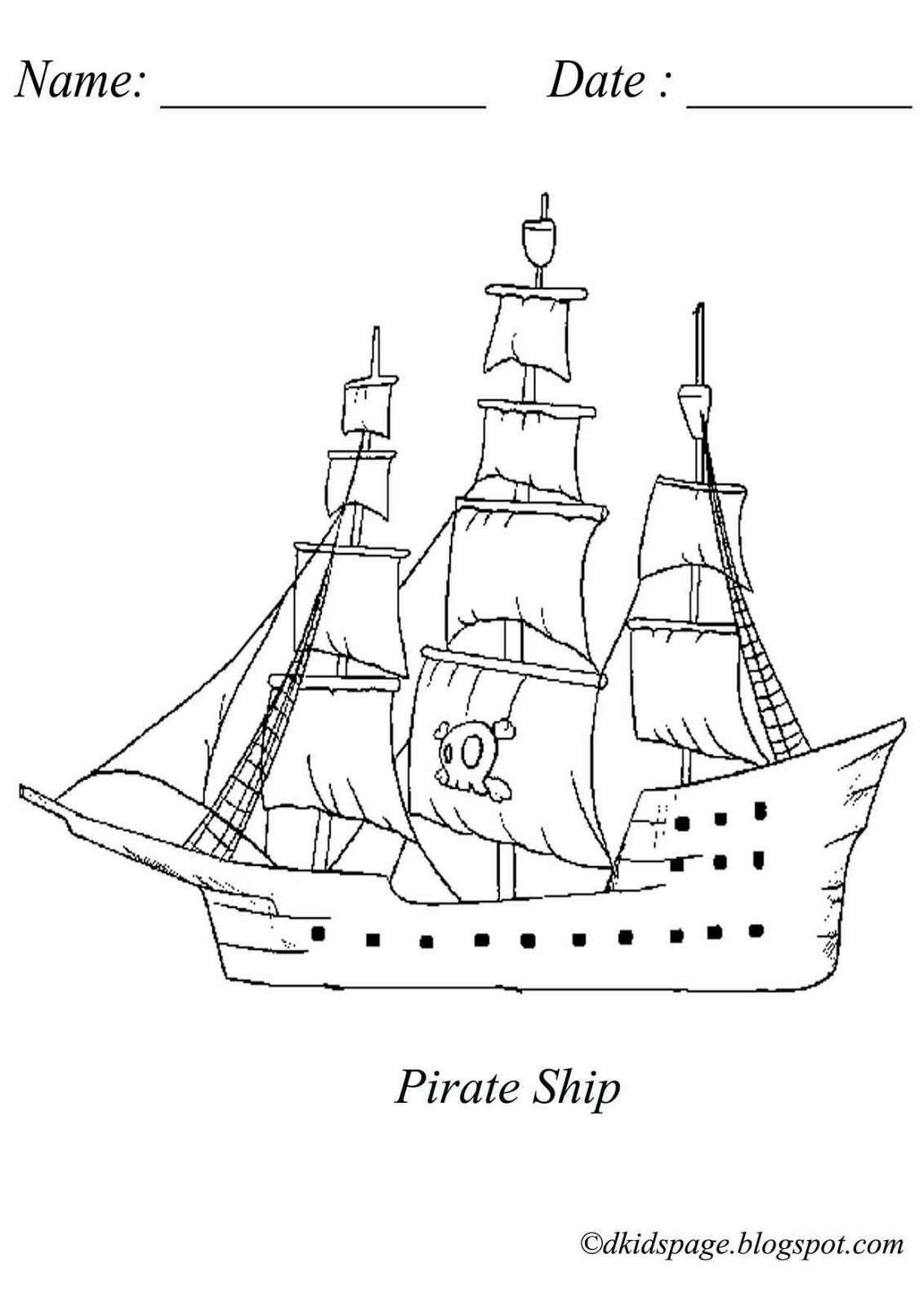 Coloring Picture of Pirate Ship