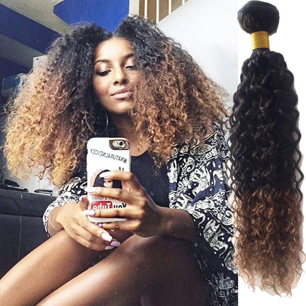 Afro Curly Hair 100 Real Human Hair Extensions Wefts 2tone Ombre