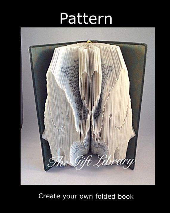 Book Folding Art Pattern   2 Elephants  Pattern by TheGiftLibrary