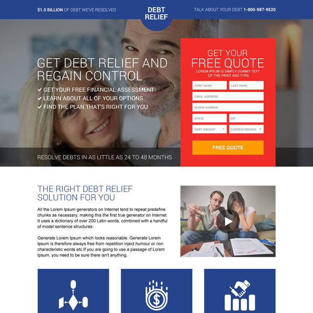 Best Debt Relief Responsive Landing Page Design Debt Relief Reverse Mortgage Debt Solutions