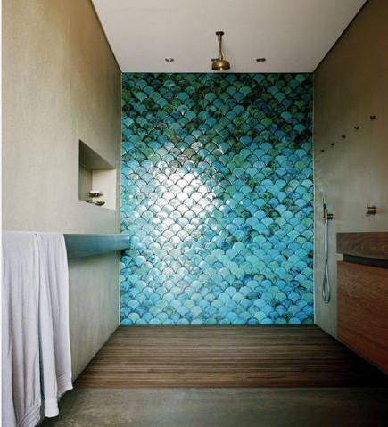 Turquoise And Blue Scallop Tile Wall In A Contemporary Shower