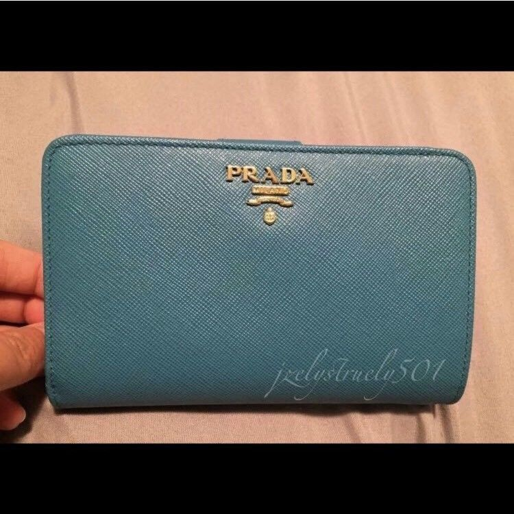 18aab2f7b7e4 Prada Womens Saffiano Leather Continental Wallet Aqua Blue  fashion   clothing  shoes  accessories  womensaccessories  wallets