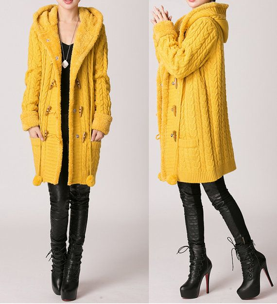 Yellow Long woolen Sweater Coat Cardigan by fashionwomanstore ...