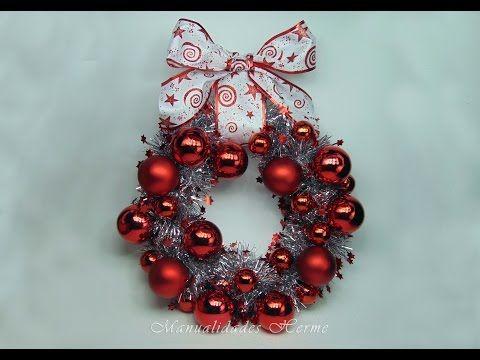 Como hacer una corona de esferas manera facil y - Adornos navidenos originales ...