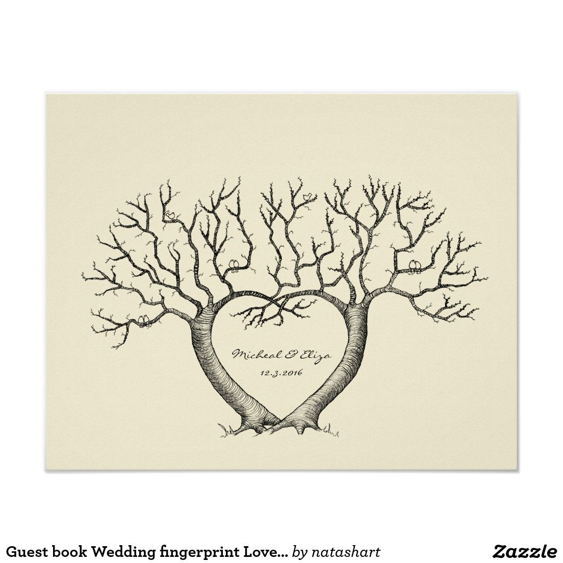 Árvores de amor da impressão digital do casamento