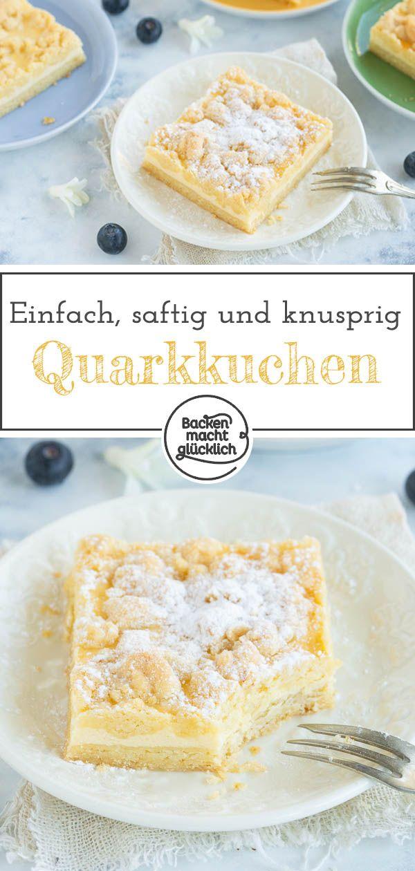 Ein einfacher, schneller Käse-Streusel-Kuchen vom Blech, der Groß und Klein schmeckt. Die Kombination aus saftigem Quarkkuchen und knusprigen Streuseln ist verführerisch gut!