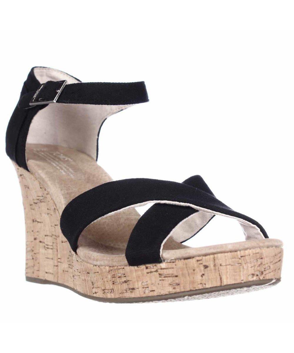 632f5602153 TOMS Toms Strappy Wedge Cork Heel Sandals - Black Canvas Cork .  toms   shoes  sandals