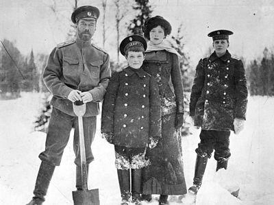 Nicholas II, Alexei, Tatiana and Nicholas nephew Nikita.