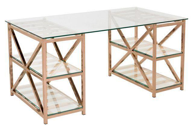 Nelson 63 Glass Desk Rose Gold Rose Gold Furniture Glass Top Desk Glass Desk