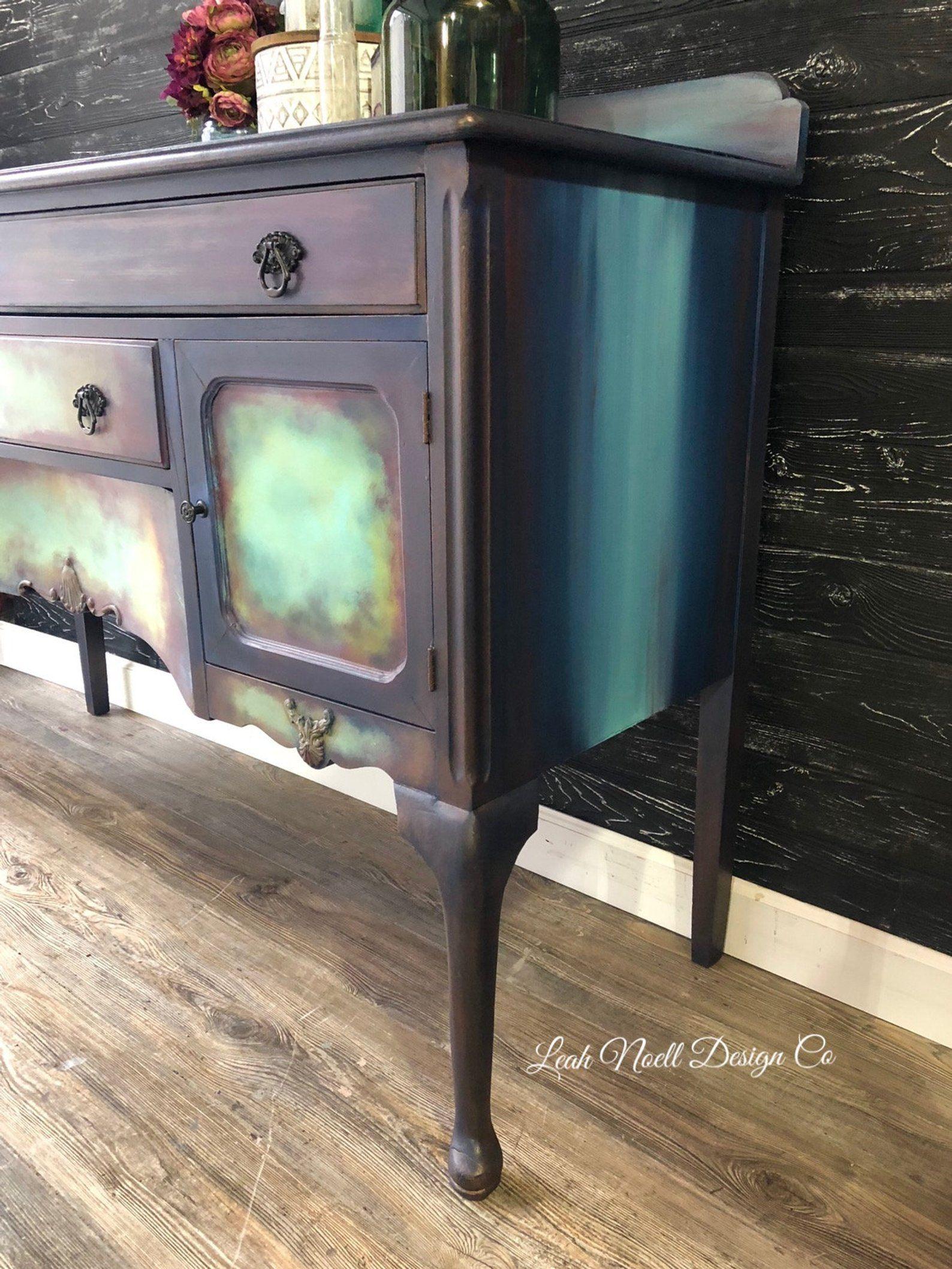 Boho Nebula Hand Painted Buffet Antique Furniture Etsy