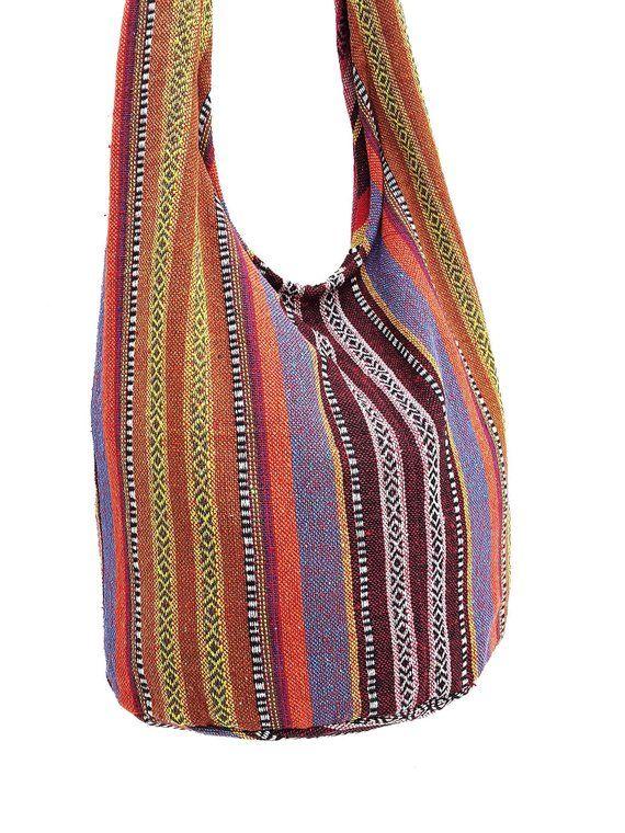 ea10e28e4186 Woven Cotton Bag Hippie bag Hobo Boho bag Shoulder bag Sling bag Messenger  bag Tote Crossbody bag Pu